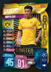 TOPPS MATCH ATTAX CHAMPIONS LEAGUE 2019-20 LIMITED EDITION GOLD SANCHO
