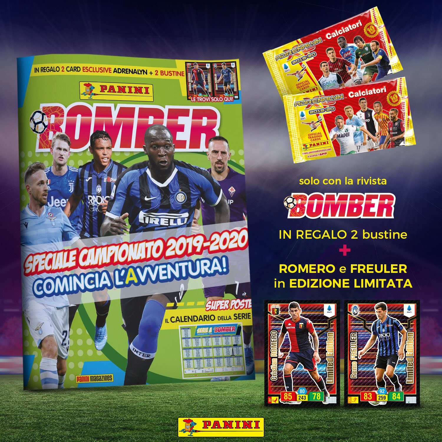 PANINI ADRENALYN XL CALCIATORI 2019-20 ANNONCE TWITTER BOMBER SEPTEMBRE 2019
