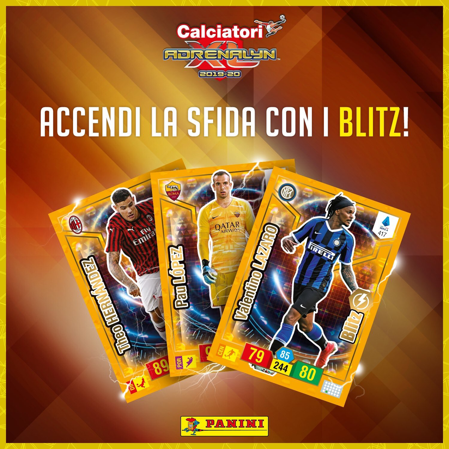 PANINI ADRENALYN XL CALCIATORI 2019-20 ANNONCE TWITTER CARTES BLITZ
