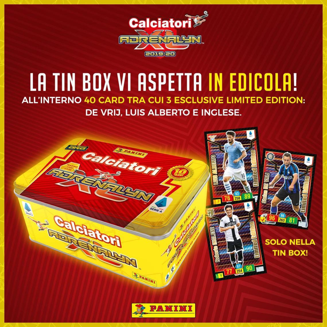 PANINI ADRENALYN XL CALCIATORI 2019-20 ANNONCE TWITTER TIN BOX