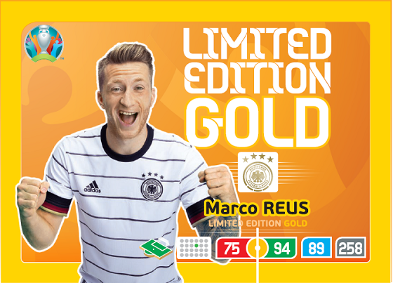 PANINI ADRENALYN XL EURO 2020 CARTE LIMITED EDITION GOLD REUS