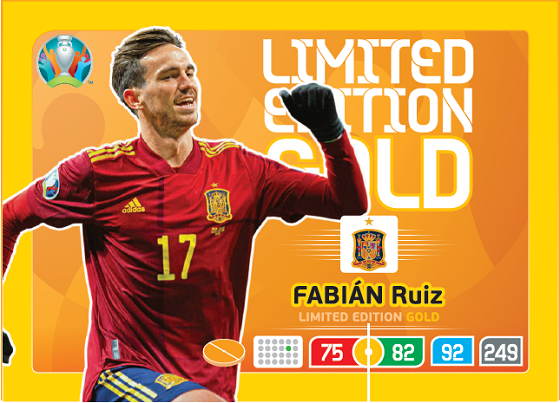 PANINI ADRENALYN XL EURO 2020 CARTE LIMITED EDITION GOLD RUIZ