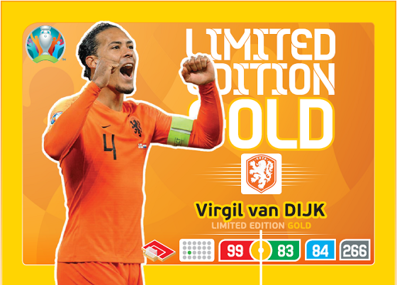 PANINI ADRENALYN XL EURO 2020 CARTE LIMITED EDITION GOLD VAN DIJK