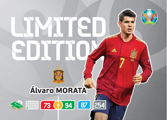 PANINI ADRENALYN XL EURO 2020 CARTE LIMITED EDITION MORATA