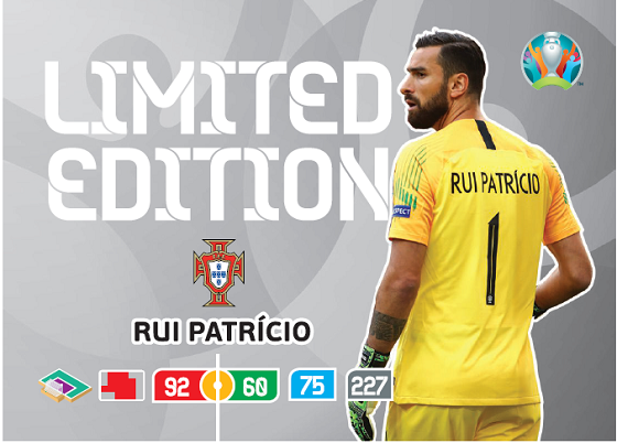 PANINI ADRENALYN XL EURO 2020 CARTE LIMITED EDITION RUI PATRICIO