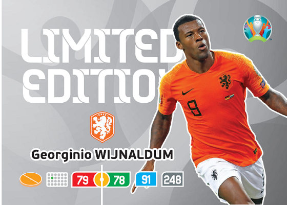 PANINI ADRENALYN XL EURO 2020 CARTE LIMITED EDITION WIJNALDUM