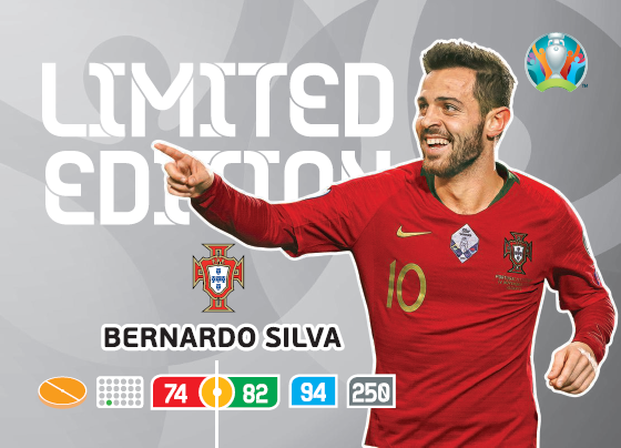 PANINI ADRENALYN XL UEFA EURO 2020 CARTE LIMITED EDITION BERNARDO SILVA