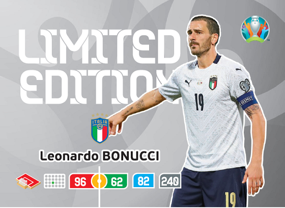 PANINI ADRENALYN XL UEFA EURO 2020 CARTE LIMITED EDITION BONUCCI