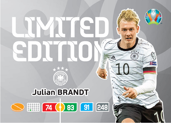 PANINI ADRENALYN XL UEFA EURO 2020 CARTE LIMITED EDITION BRANDT