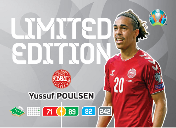 PANINI ADRENALYN XL UEFA EURO 2020 CARTE LIMITED EDITION POULSEN