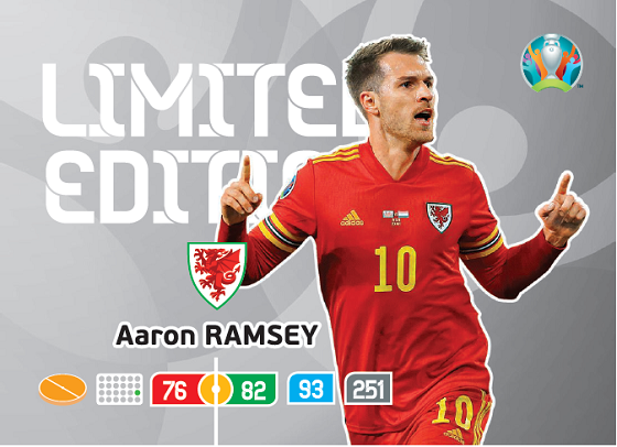 PANINI ADRENALYN XL UEFA EURO 2020 CARTE LIMITED EDITION RAMSEY