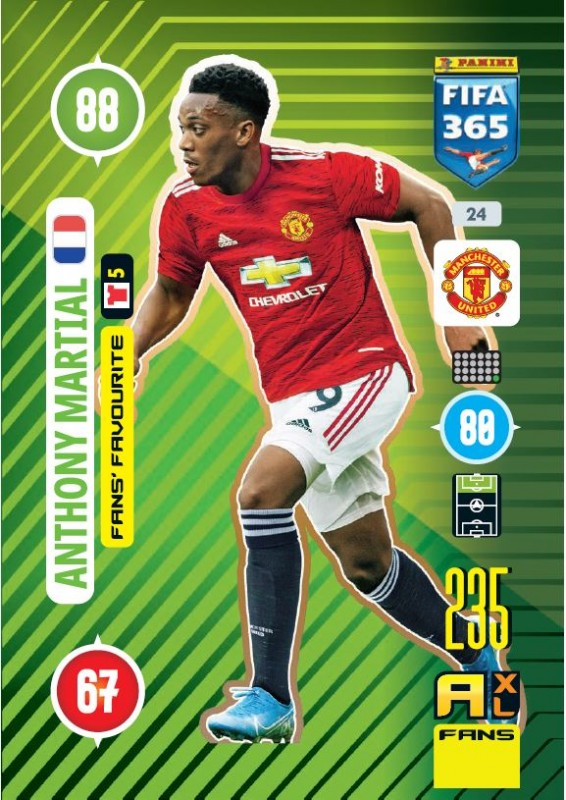 PANINI ADRENALYN XL FIFA 365 2021 24 FANS FAVOURITE ANTHONY MARTIAL MANCHESTER