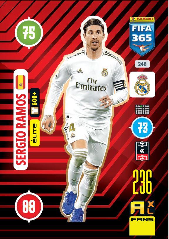 PANINI ADRENALYN XL FIFA 365 2021 248 ELITE SERGIO RAMOS MADRID