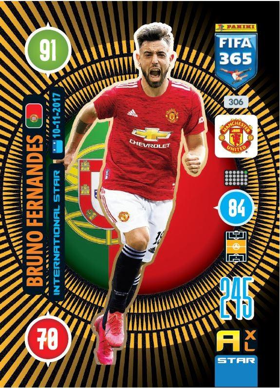 PANINI ADRENALYN XL FIFA 365 2021 306 INTERNATIONAL STAR BRUNO FERNANDES MANCHESTER