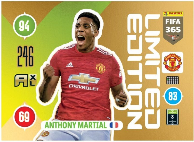 PANINI ADRENALYN XL FIFA 365 2021 LE ANTHONY MARTIAL MANCHESTER
