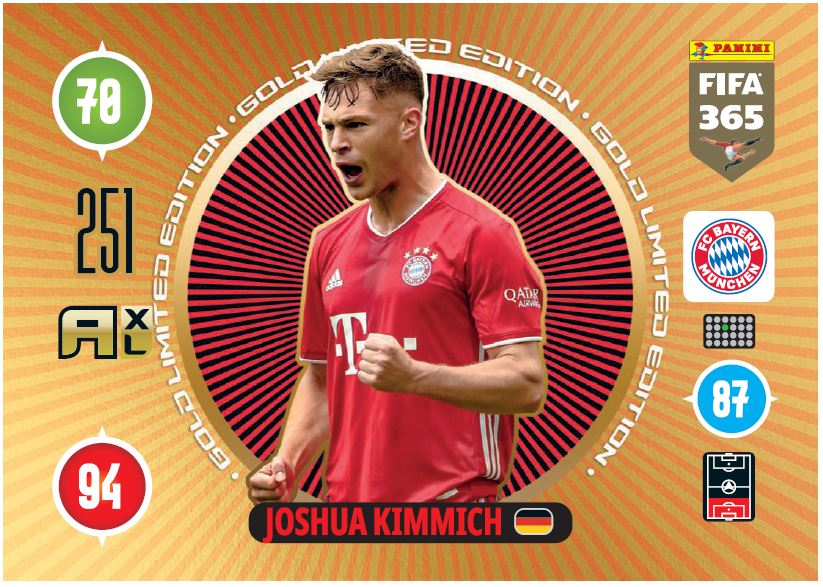PANINI ADRENALYN XL FIFA 365 2021 LE PREMIUM GOLD JOSHUA KIMMICH MUNICH