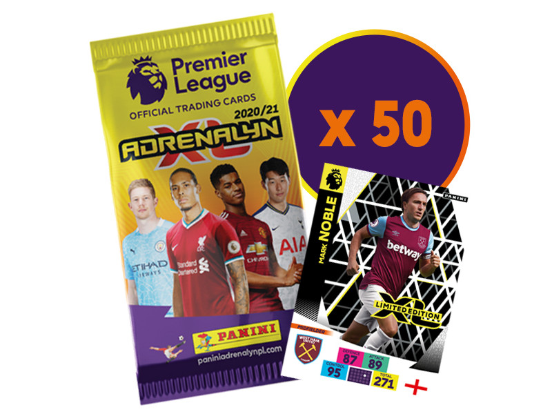 PANINI ADRENALYN XL PREMIER LEAGUE 2020-21 BUNDLE 50 POCHETTES LE NOBLE