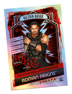TOPPS WWE SLAM ATTAX RELOADED 2020 ULTRA RARE RED LE ROMAN REIGNS