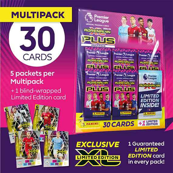 PANINI ADRENALYN XL PLUS PREMIER LEAGUE 2020-21 MULTIPACK AVEC LIMITED EDITION 1 SUR 4