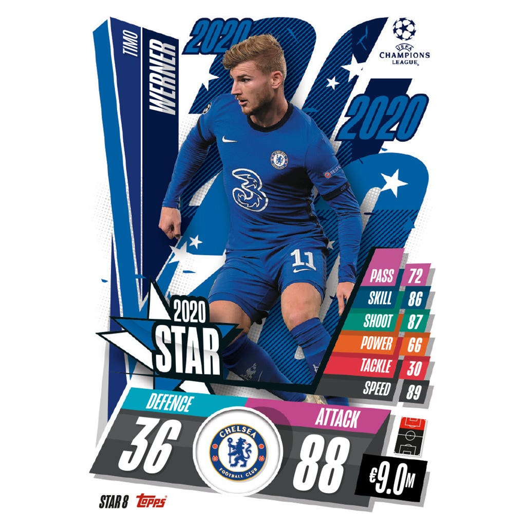 TOPPS MATCH ATTAX CHAMPIONS LEAGUE 2020-21 STAR8 WERNER