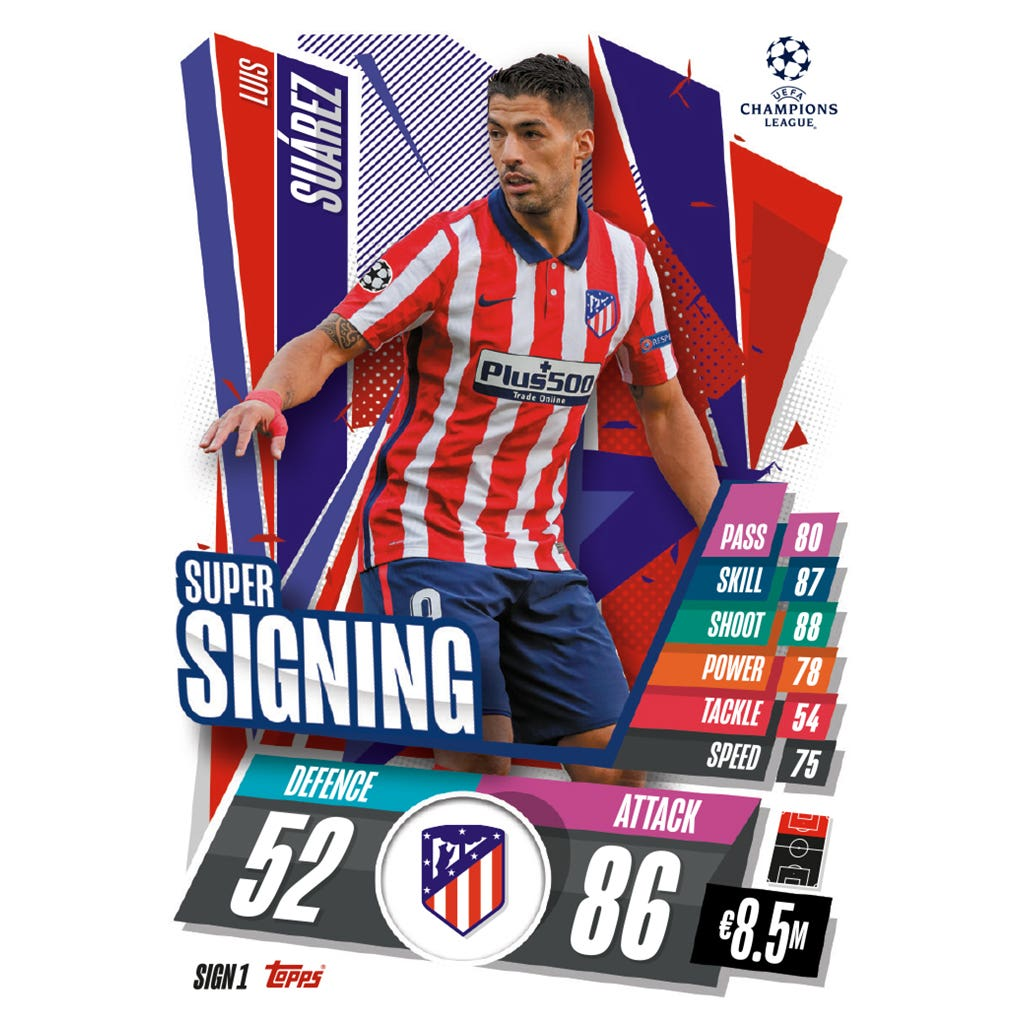 TOPPS MATCH ATTAX CHAMPIONS LEAGUE 2020-21 SUPER SIGNING SIGN1 SUAREZ