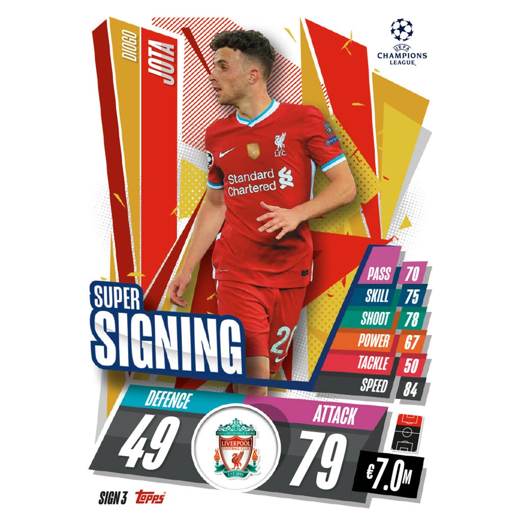 TOPPS MATCH ATTAX CHAMPIONS LEAGUE 2020-21 SUPER SIGNING SIGN3 JOTA