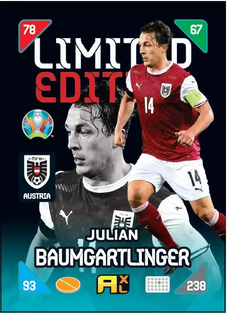 PANINI ADRENALYN XL EURO 2020 KICK OFF 2021 CARTE LIMITED EDITION BAUMGARTLINGER