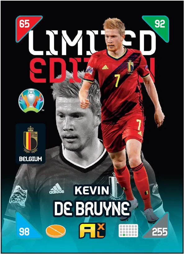 PANINI ADRENALYN XL EURO 2020 KICK OFF 2021 CARTE LIMITED EDITION DE BRUYNE