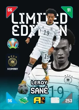 PANINI ADRENALYN XL EURO 2020 KICK OFF 2021 CARTE LIMITED EDITION SANE
