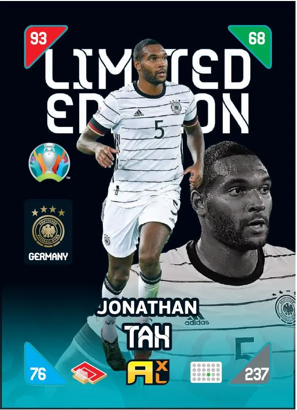 PANINI ADRENALYN XL EURO 2020 KICK OFF 2021 CARTE LIMITED EDITION TAH