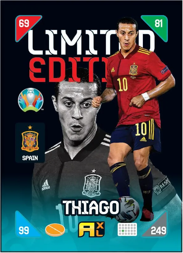 PANINI ADRENALYN XL EURO 2020 KICK OFF 2021 CARTE LIMITED EDITION THIAGO