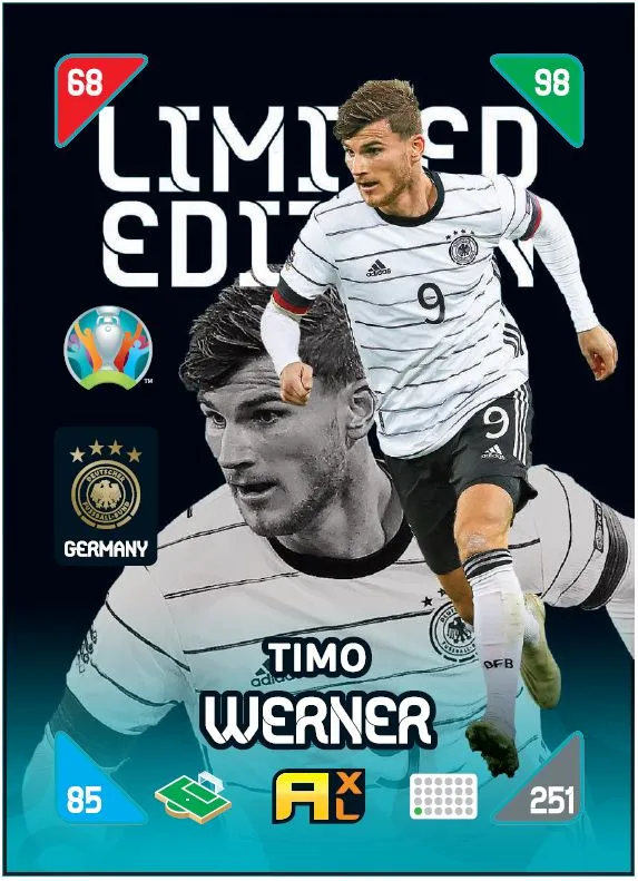 PANINI ADRENALYN XL EURO 2020 KICK OFF 2021 CARTE LIMITED EDITION WERNER