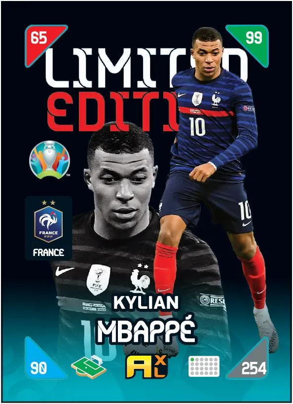 PANINI ADRENALYN XL EURO 2020 KICKOFF 2021 CARTE LIMITED EDITION MBAPPE