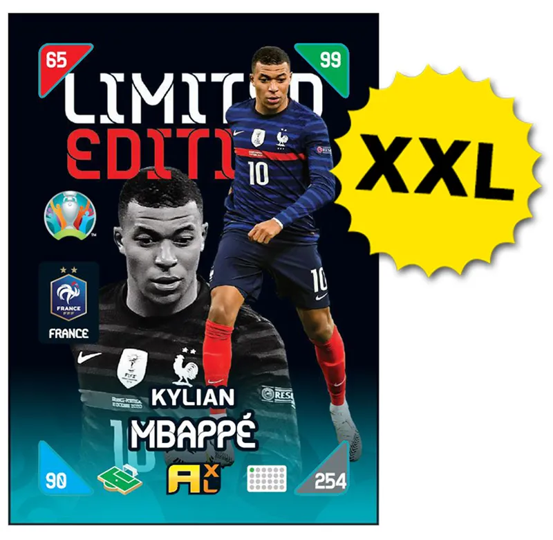 PANINI ADRENALYN XL EURO 2020 KICKOFF 2021 CARTE LIMITED EDITION XXL MBAPPE