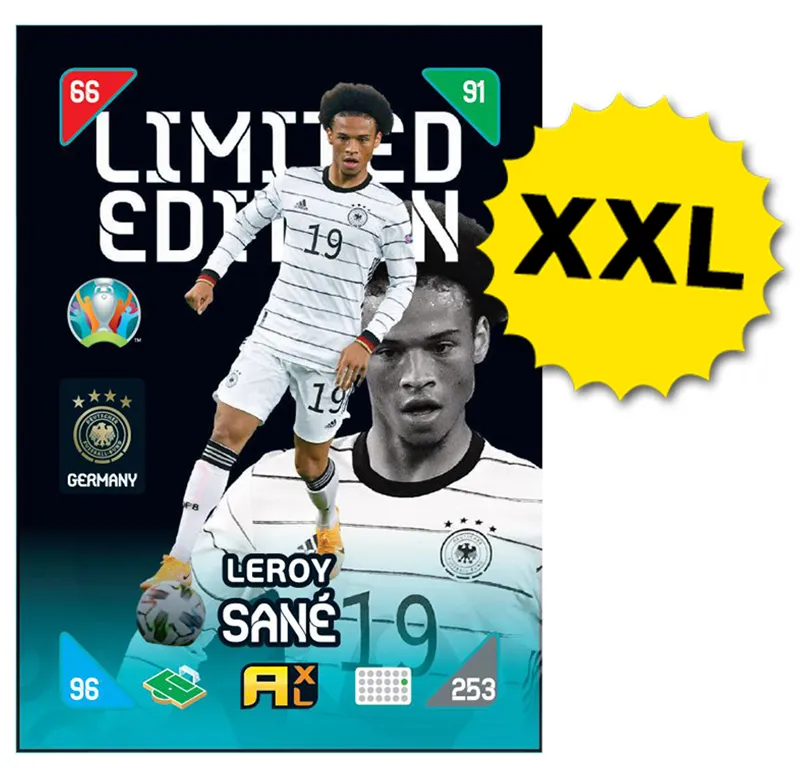 PANINI ADRENALYN XL EURO 2020 KICKOFF 2021 CARTE LIMITED EDITION XXL SANE