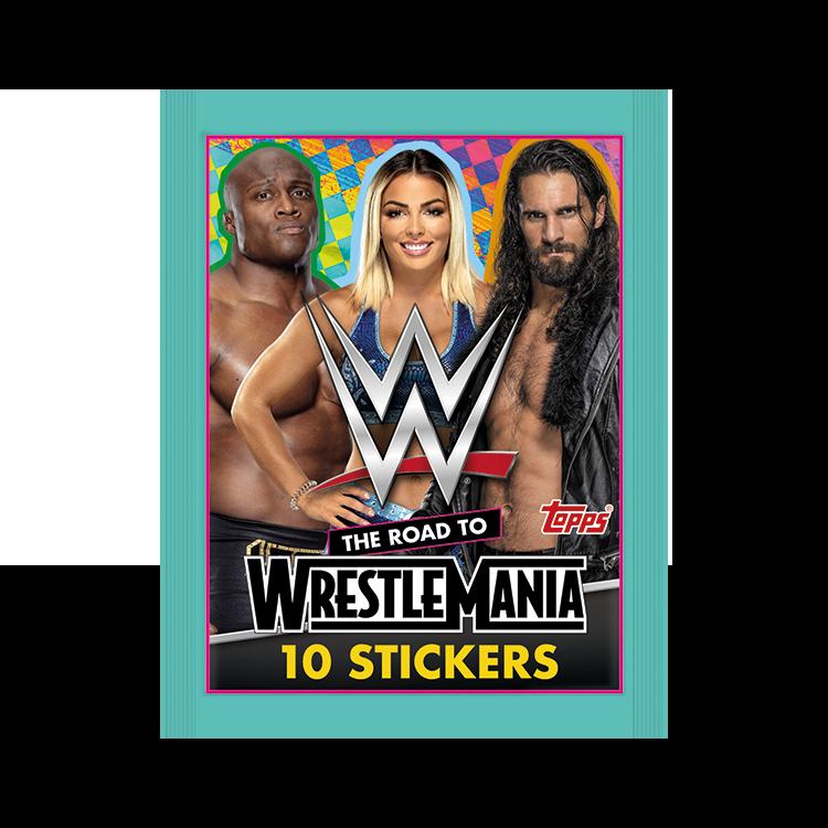 TOPPS WWE WRESTLEMANIA STICKERS 2021 POCHETTE DE 10 STICKERS MODELE 03