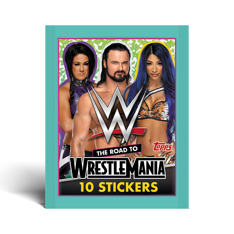 TOPPS WWE WRESTLEMANIA STICKERS 2021 POCHETTE DE 10 STICKERS MODELE 04