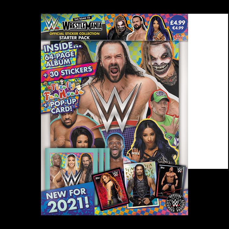 TOPPS WWE WRESTLEMANIA STICKERS 2021 STARTER PACK DE DEMARRAGE