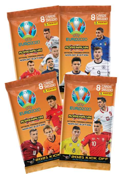 PANINI ADRENALYN XL EURO 2020 KICKOFF 2021 NORDIC EDITION POCHETTES DE 8 CARTES
